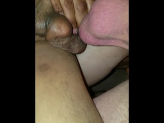 Somehow stuffing my wife's tight cunt with BBC and BWC, for her first DVP!