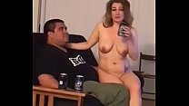 Naked gf sits on friends lap