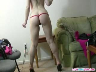 Sexy ex girlfriend Tina dancing in thong